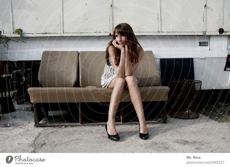 Woman Beautiful Loneliness Feminine Adults Style Sadness Building Legs Skin Sit Wait Hope Dress Longing Thin