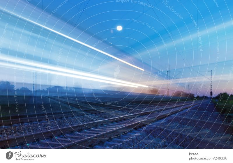 White Blue Black Transport Speed Driving Railroad tracks Moon Traffic infrastructure Rail transport Overnight train