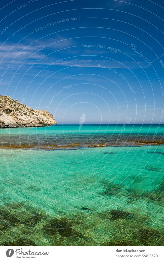 ready for a holiday Environment Nature Water Sky Beautiful weather Coast Blue Turquoise Relaxation Horizon Calm Infinity Far-off places Majorca