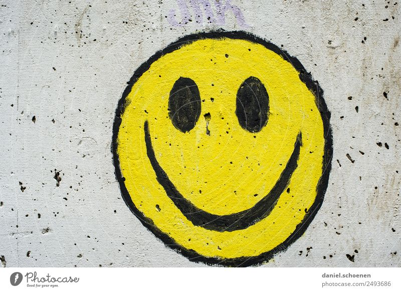 :-) Art Sign Graffiti Smiley Friendliness Happiness Yellow Gray Emotions Joy Happy Colour photo Copy Space left