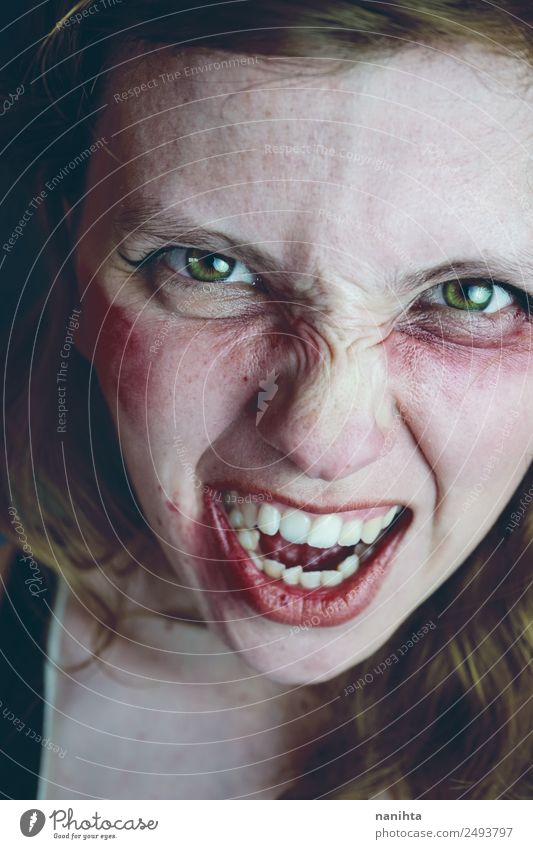 Angry and aggressive young woman Woman Human being Youth (Young adults) Young woman Dark 18 - 30 years Adults Feminine Emotions Fear Crazy Dangerous Anger Pain