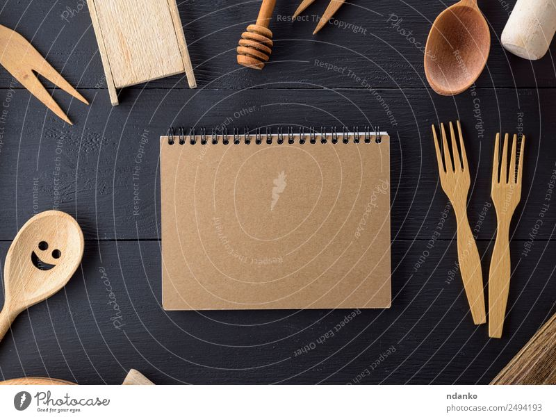 wooden kitchen items Cutlery Fork Spoon Table Kitchen Tool Paper Wood Above Retro Brown notebook Open Menu utensil Household Set vintage background board cook