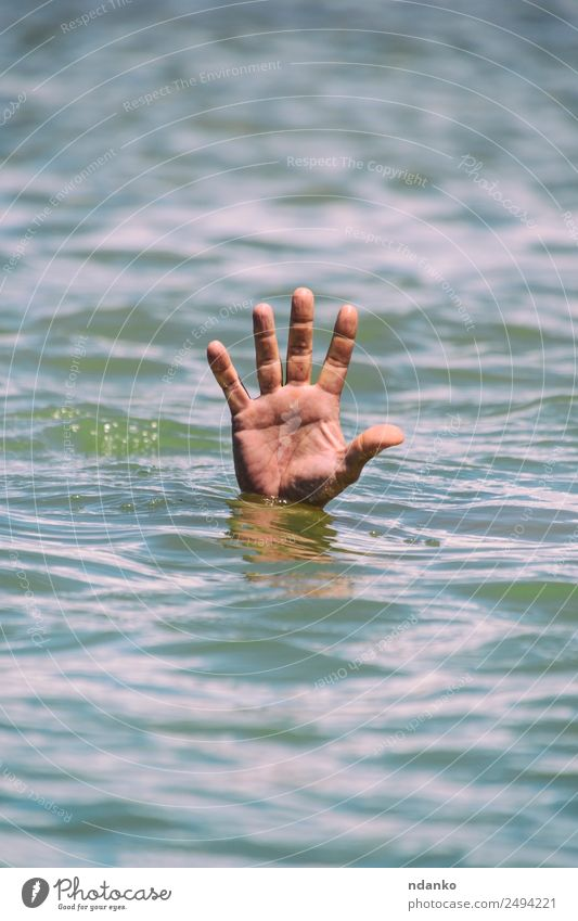 gesture for the help of a drowning man Summer Ocean Human being Man Adults Hand Fingers 1 Water Swimming & Bathing Wet Blue Hope Dangerous Stress Death Drown