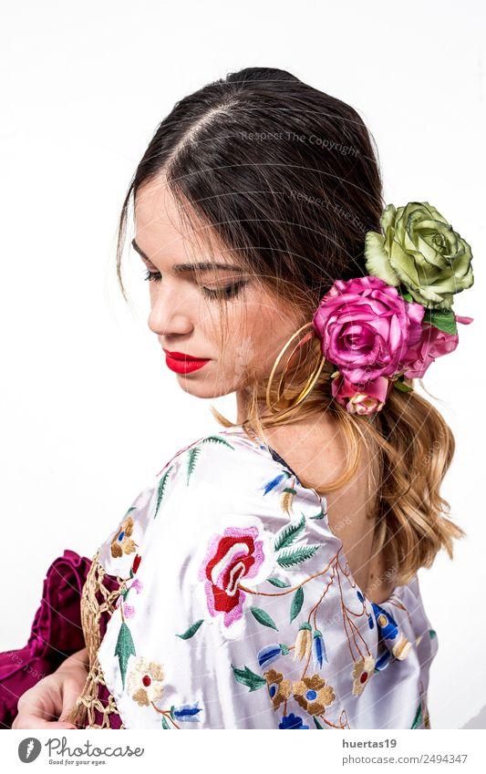 Portrait of young flamenco dancer Lifestyle Elegant Style Happy Beautiful Dance Woman Adults Art Artist Dancer Culture Flower Fashion Dress Cute White Emotions