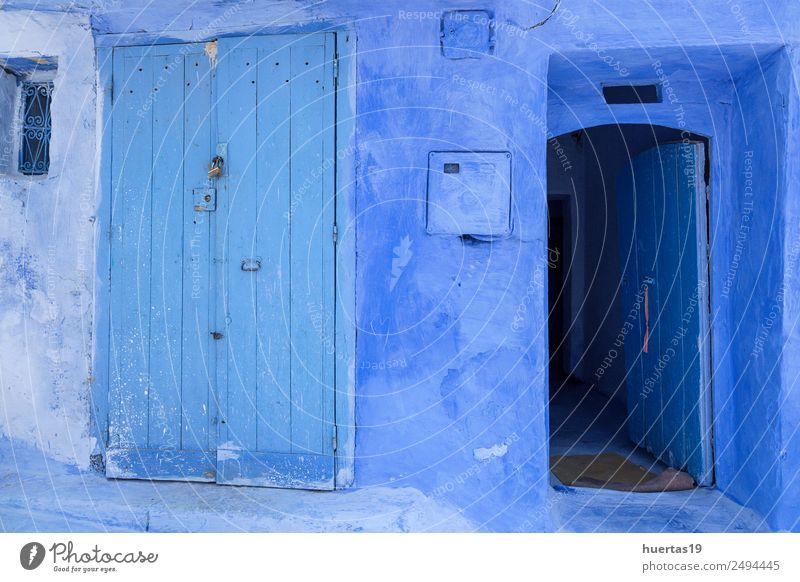 Chaouen the blue city of Morocco Vacation & Travel Old Blue Architecture Building Tourism Shopping Village Downtown Store premises Small Town Horizontal City