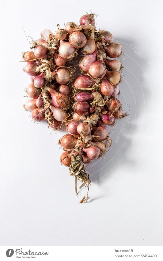 Bouquet of fresh red onions Food Vegetable Vegetarian diet Diet Healthy Eating Table Fresh Natural Green Red Detox isolated background flat lay cooking Garlic