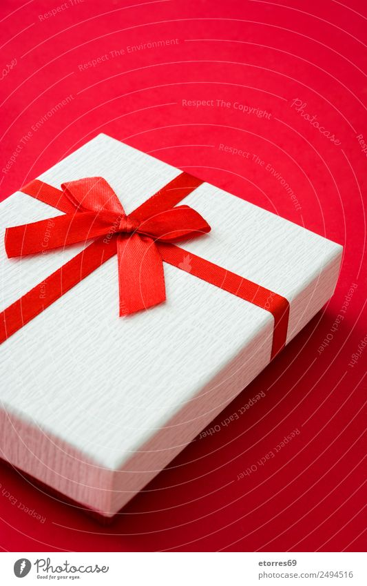 White gift box on red background Vacation & Travel Christmas & Advent Red Feasts & Celebrations Decoration Birthday Gift String Wedding New Year's Eve Packaging