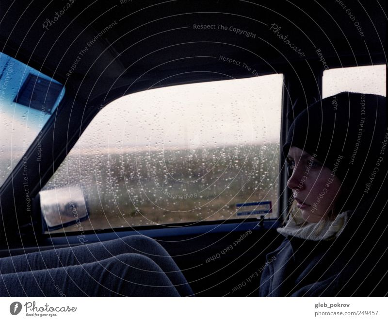 Doc #rainy portrait Human being Youth (Young adults) Face Relaxation Life Head Adults Think Car Legs Rain Weather Wind Sit Transport Climate