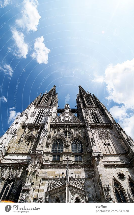 Sunshine in Regensburg Sky Clouds Sunlight Beautiful weather Old town Church Dome Esthetic Religion and faith Ambitious Colour photo Exterior shot