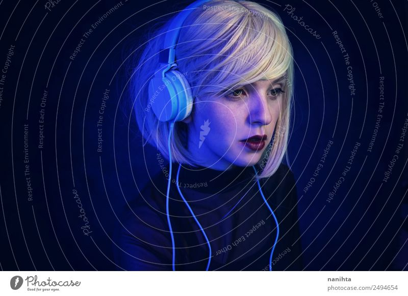 Futuristic portrait of an android Elegant Style Design Leisure and hobbies Night life Event Music Disc jockey Technology Entertainment electronics Advancement