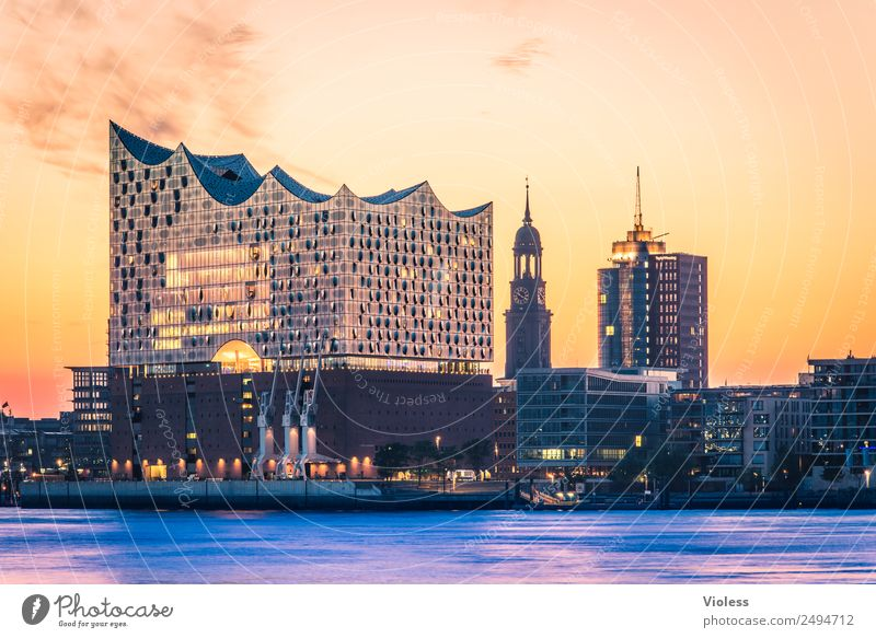 most beautiful city Skyline II Harbour Hamburg Elbe Philharmonic Hall Light Kehrwiederspitze Port City Bridge Manmade structures Building Tourist Attraction