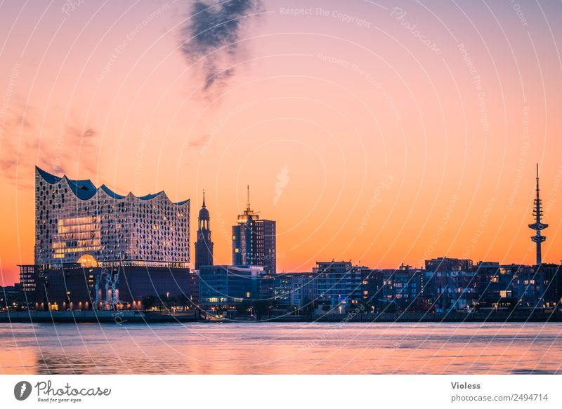 Most beautiful city Skyline 4 Harbour Hamburg Elbe Philharmonic Hall Light Kehrwiederspitze Port City Bridge Manmade structures Building Tourist Attraction