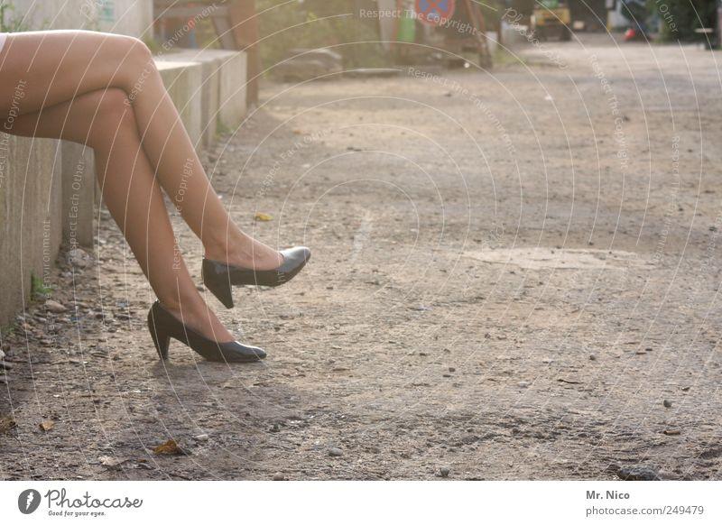 maybe tomorrow Elegant Skin Summer Feminine Woman Adults Legs Feet Industrial plant Street Lanes & trails High heels Esthetic Thin Warm-heartedness Serene