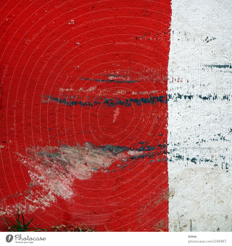White Red Stone Line Background picture Concrete Shabby Warning label Barrier Clue Abrasion Scratch mark Warning colour Scrape Scratched Friction