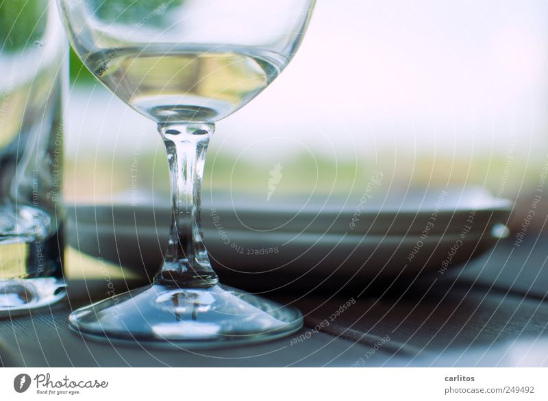 siesta Summer To enjoy Plate Glass Wine glass Tumbler Break Blur Round Polished section Half full half-empty Relaxation Weekend Colour photo Subdued colour