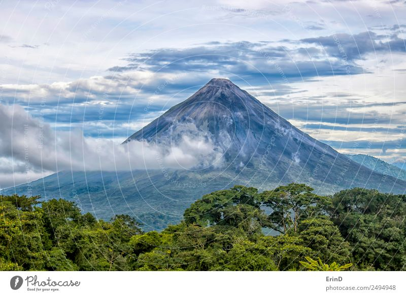 Arenal Volcano Rises from Jungle Beautiful Vacation & Travel Tourism Adventure Summer Sun Mountain Nature Landscape Plant Clouds Tree Virgin forest Tall