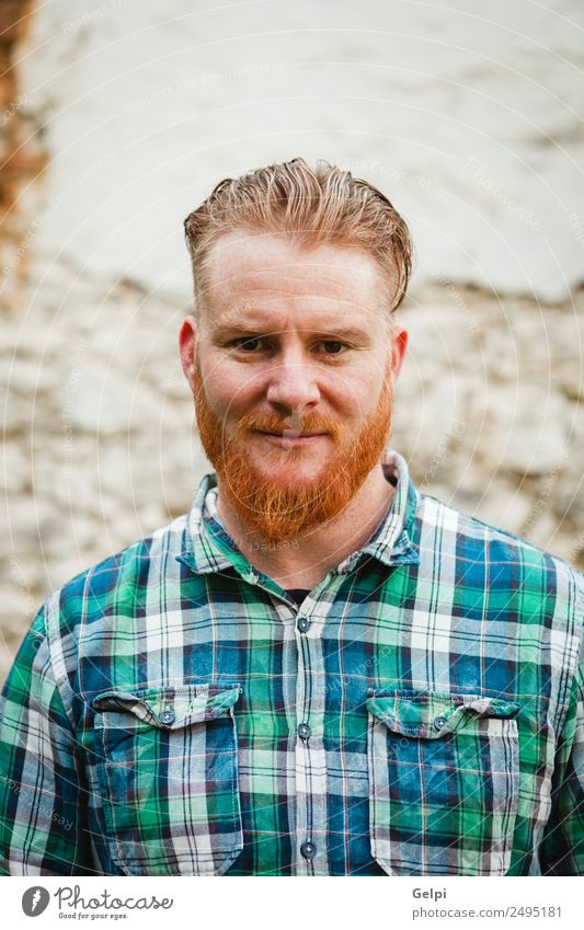 Portrait of red haired man with plaid shirt Style Hair and hairstyles Human being Man Adults Red-haired Moustache Beard Stand Cool (slang) Hip & trendy Modern