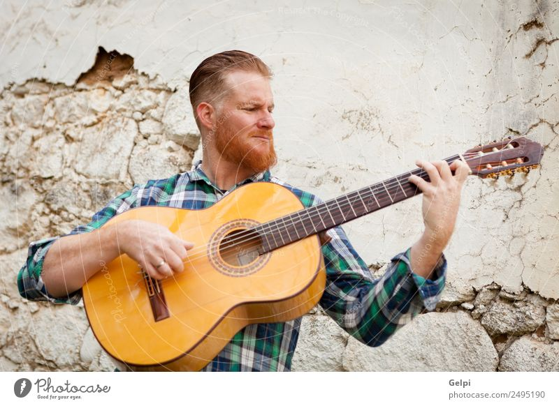 red haired man Leisure and hobbies Playing Entertainment Music Human being Man Adults Musician Guitar Nature Red-haired Moustache Old Cool (slang) Hip & trendy
