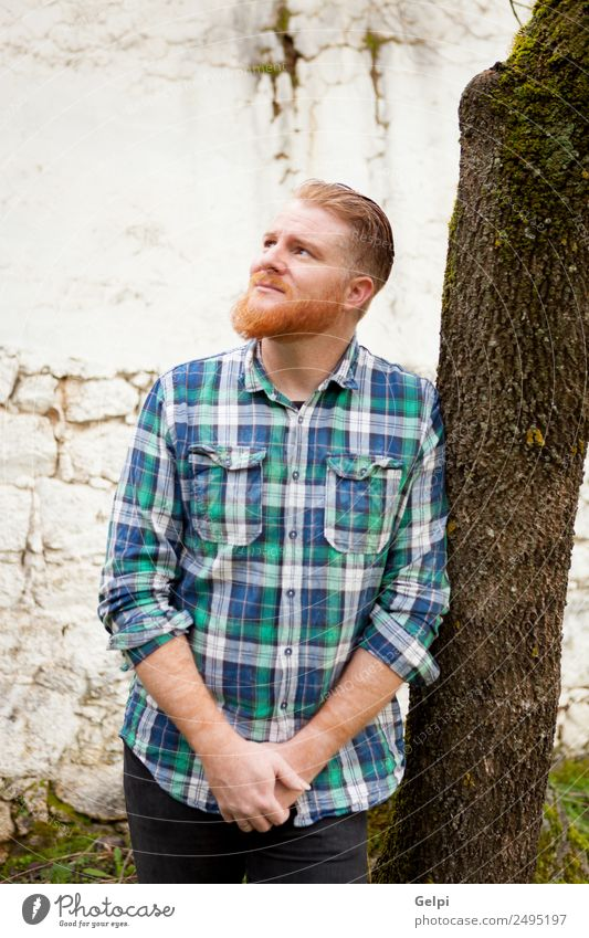 Portrait of red haired man with plaid shirt Style Hair and hairstyles Human being Man Adults Red-haired Moustache Beard Think Stand Cool (slang) Hip & trendy