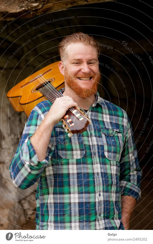 red haired man Leisure and hobbies Playing Entertainment Music Human being Man Adults Musician Guitar Nature Red-haired Moustache Cool (slang) Hip & trendy Cute