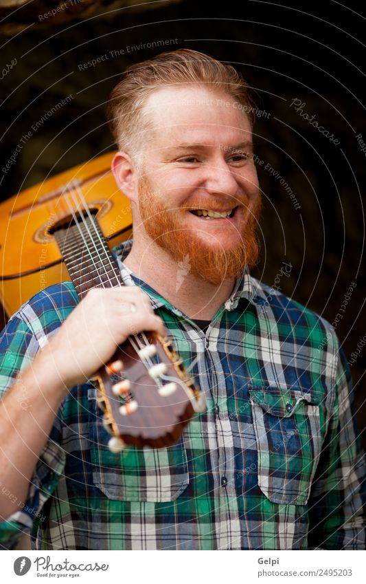 red haired man Leisure and hobbies Playing House (Residential Structure) Entertainment Music Human being Man Adults Musician Guitar Red-haired Moustache