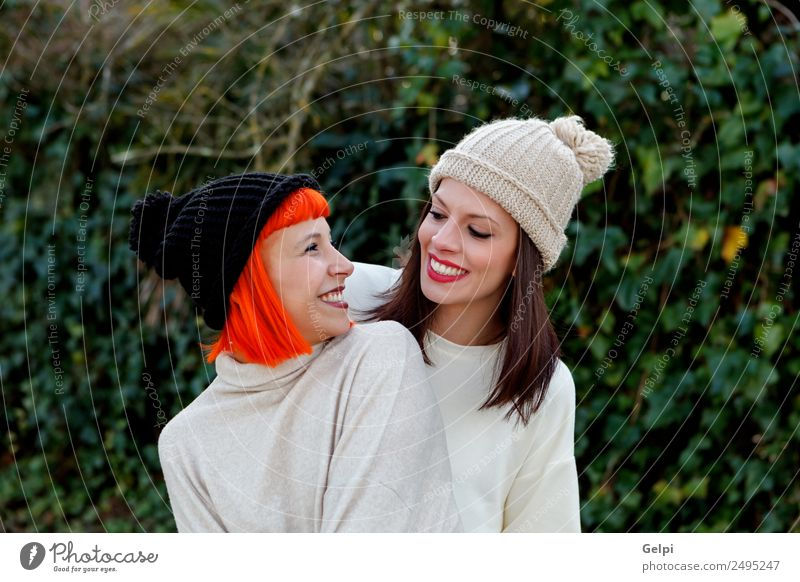 Beautiful friends in the forest Lifestyle Style Joy Happy Winter Woman Adults Family & Relations Friendship Nature Fashion Brunette Smiling Laughter Love