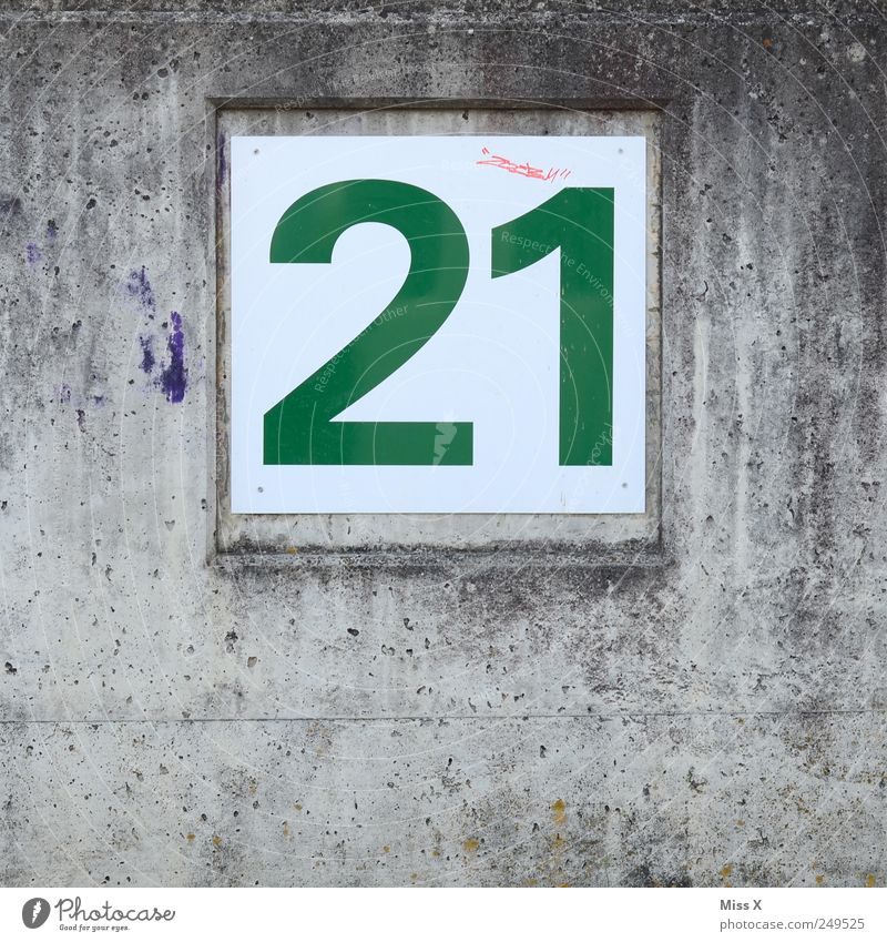 1 Wall (building) Gray Wall (barrier) 2 Flat (apartment) Signs and labeling Digits and numbers Sign 21 House number