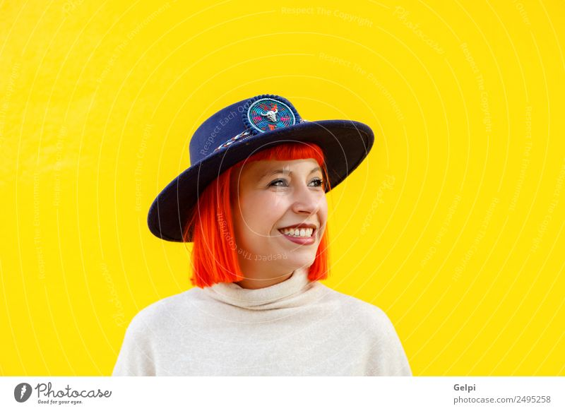 Attractive girl Lifestyle Elegant Style Joy Happy Beautiful Summer Human being Woman Adults Lips Autumn Street Fashion Clothing Sweater Hat Smiling Cool (slang)