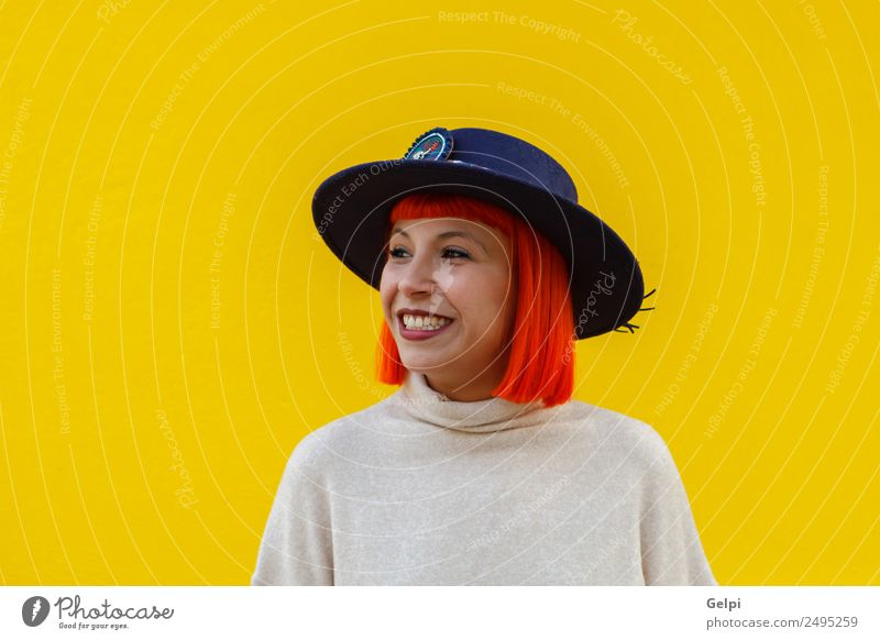 Attractive girl with a hat over Woman Human being Summer Beautiful Colour Joy Street Adults Lifestyle Yellow Autumn Style Happy Fashion Bright Modern