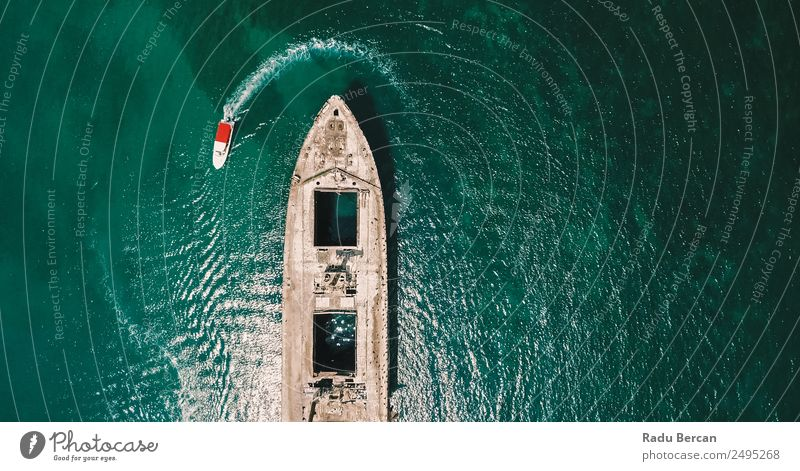 Aerial Drone View Of Old Shipwreck Ghost Ship Vessel Nature Summer Blue Water Ocean Environment Watercraft Transport Waves Adventure Discover Navigation