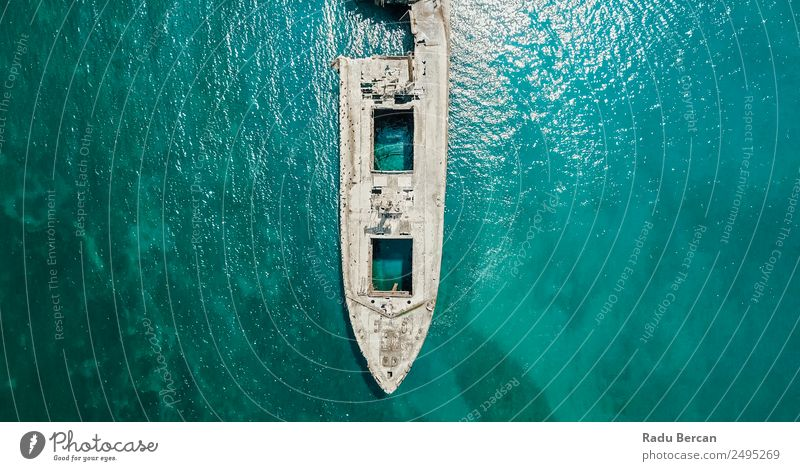 Aerial Drone View Of Old Shipwreck Ghost Ship Vessel Nature Blue Colour Landscape Ocean Environment Gray Fear Transport Dirty Adventure Threat Curiosity