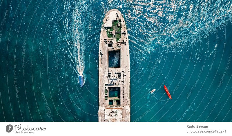Aerial Drone View Of Old Shipwreck Ghost Ship Vessel Exotic Vacation & Travel Tourism Trip Adventure Far-off places Freedom Cruise Expedition Summer