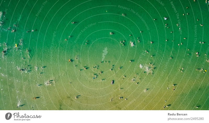 Aerial View Of People Crowd Having Fun On Beach Human being Vacation & Travel Nature Summer Water Landscape Sun Ocean Far-off places Lifestyle Warmth