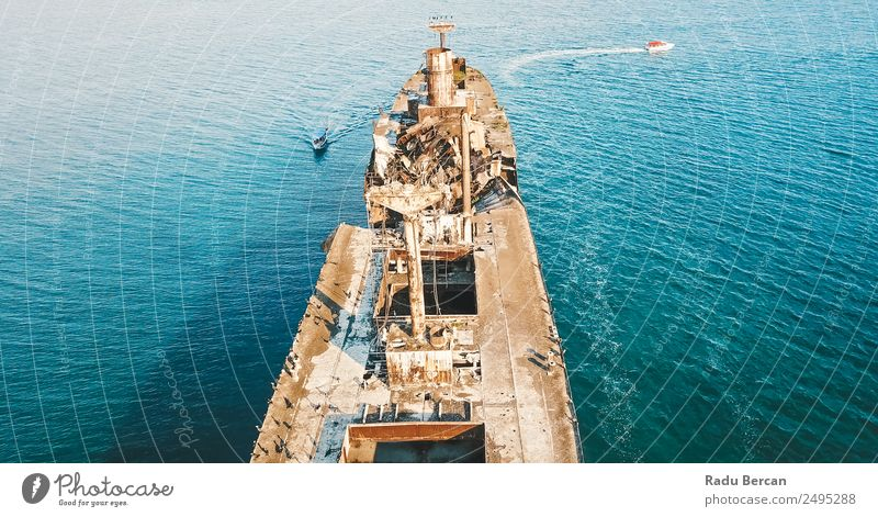 Aerial Drone View Of Old Shipwreck Ghost Ship Vessel Environment Nature Landscape Waves Ocean Transport Navigation Cruise Passenger ship Cruise liner Steamer