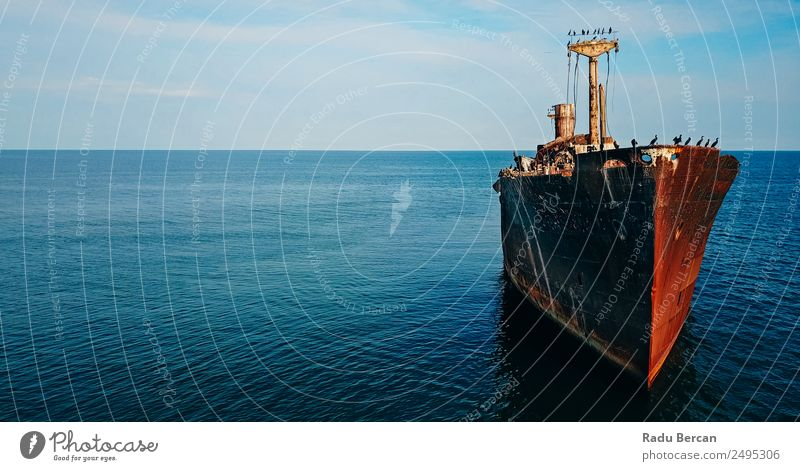 Aerial Drone View Of Old Shipwreck Ghost Ship Vessel Vacation & Travel Nature Summer Blue Colour Beautiful Landscape Ocean Far-off places Warmth Environment