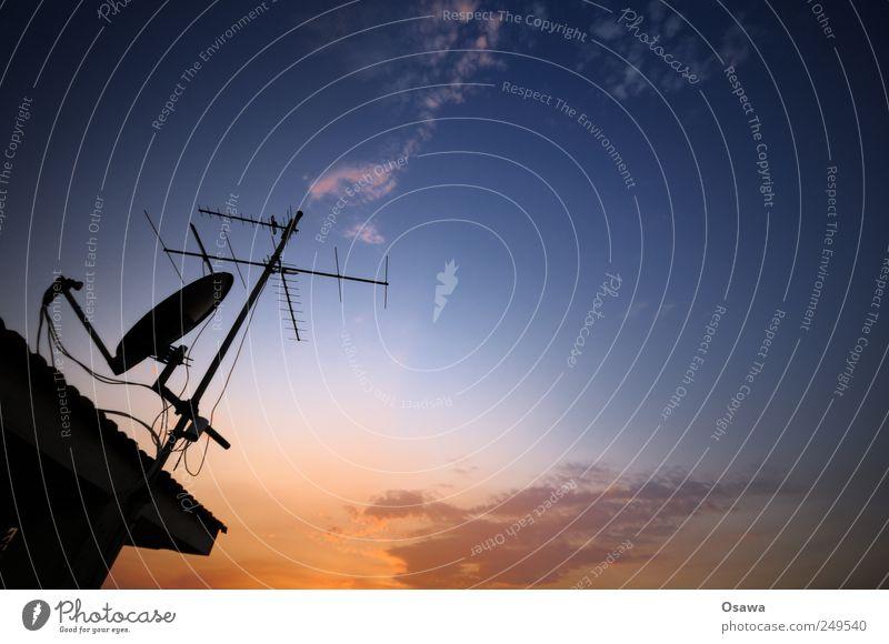 Sky Blue Red Orange Television Radio (broadcasting) Dusk Copy Space Antenna Progress Watching TV Receive Satellite dish Dish antenna