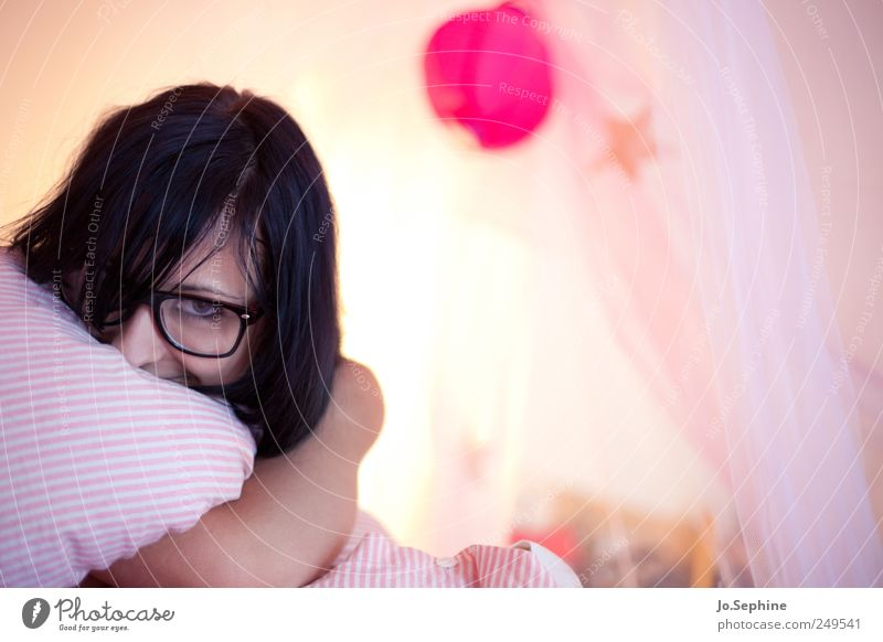 Lazy Day Lifestyle Style Human being Feminine Young woman Youth (Young adults) 1 18 - 30 years Adults Eyeglasses Black-haired Relaxation Lie Cuddly Cute Pink