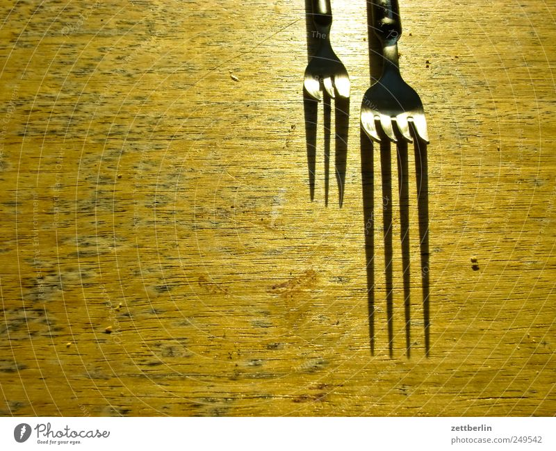 Two forks Nutrition Fork Living or residing Flat (apartment) Garden Table Kitchen Growth Garden plot Wood Wooden board Colour photo Subdued colour Close-up