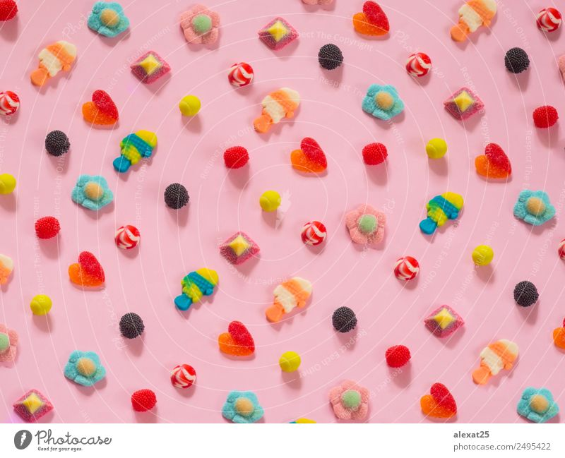 Jelly candies pattern on background Fruit Dessert Candy Joy Heart Bright Delicious Pink Red Colour Berries colorful egg fish food holiday Horizontal jelly many