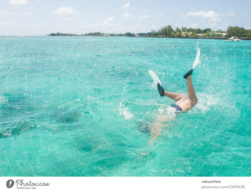 Man snorkelling in Mauritius Exotic Beautiful Relaxation Vacation & Travel Tourism Trip Summer Sun Beach Ocean Island Dive Adults Environment Landscape Sky