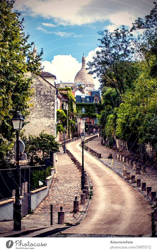 View of old street in Montmartre in Paris, France Vacation & Travel Tourism Summer Sky Tree Town Building Architecture Street Old Bright Historic Green