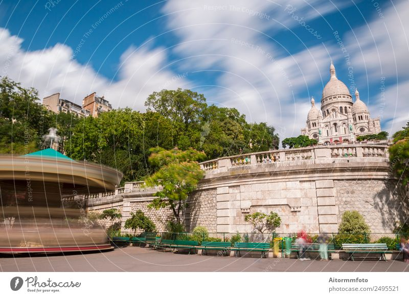 Sacre Coeur Basilica and carousel Style Beautiful Vacation & Travel Tourism Summer Sun Entertainment Culture Sky Tree Park Church Building Architecture Facade