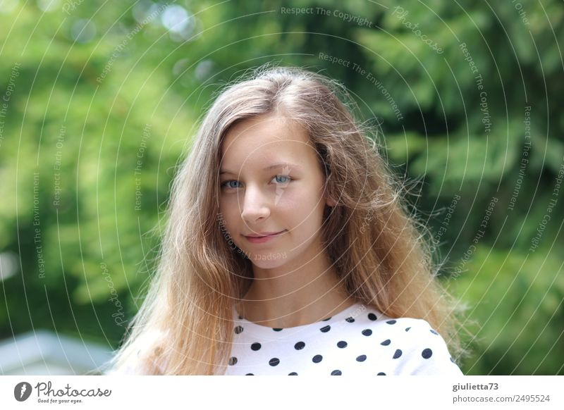 summer smile Feminine Girl Young woman Youth (Young adults) Life 1 Human being 8 - 13 years Child Infancy 13 - 18 years Summer Beautiful weather Garden Blonde