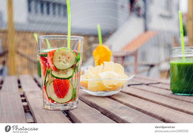 Infused fruit water cocktails and green vegetable smoothies Vegetable Fruit Nutrition Diet Beverage Juice Tea Summer Table Nature Wood Cool (slang) Fresh