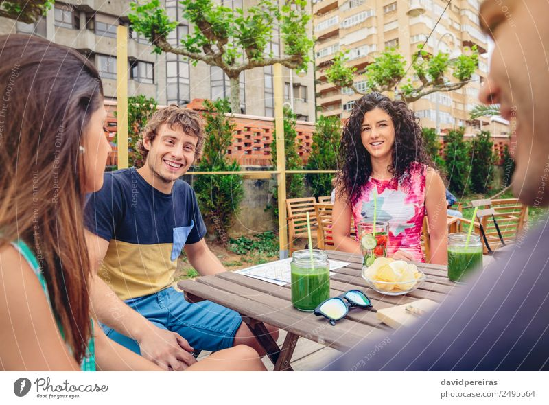 Group of people having fun in a summer day Vegetable Fruit Beverage Lifestyle Joy Happy Beautiful Leisure and hobbies Vacation & Travel Summer Garden Table