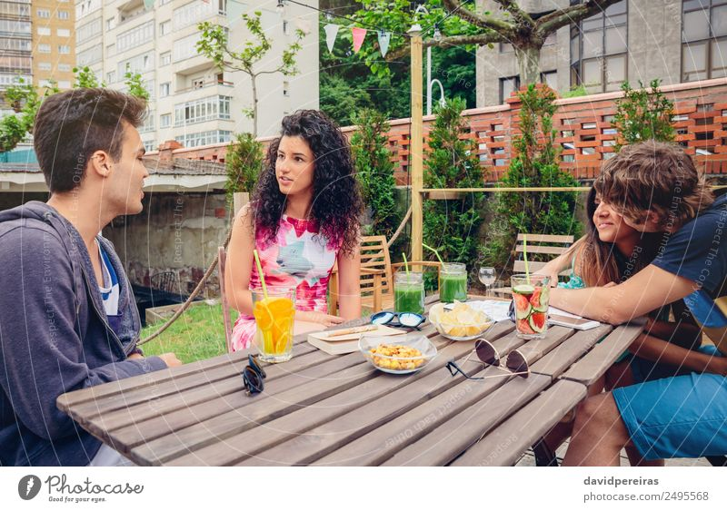 Group of people having fun in a summer day Vegetable Fruit Beverage Lifestyle Joy Happy Beautiful Leisure and hobbies Vacation & Travel Summer Table To talk