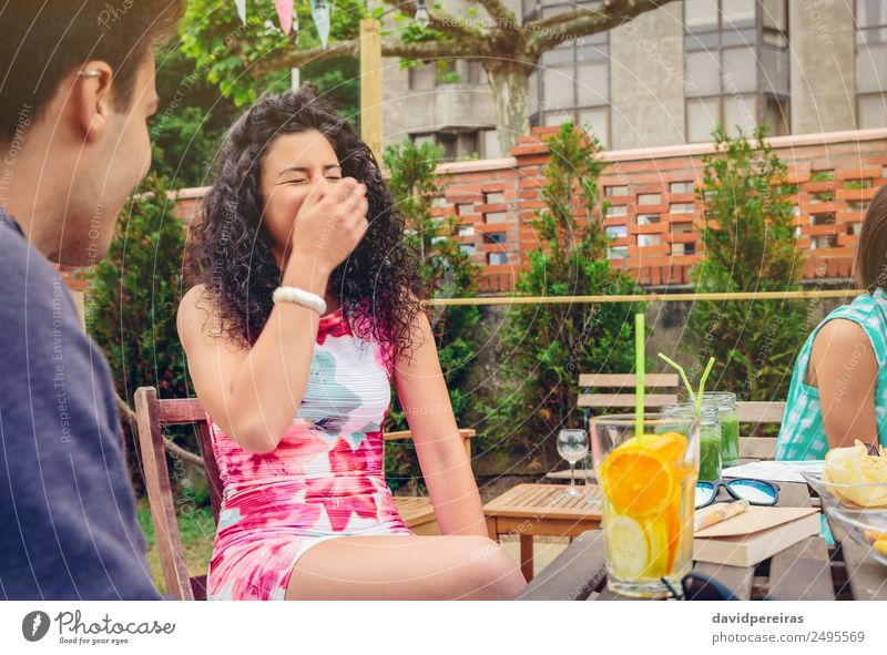 Young woman laughing with friend in a summer day Vegetable Fruit Beverage Lifestyle Joy Happy Beautiful Leisure and hobbies Vacation & Travel Summer Garden