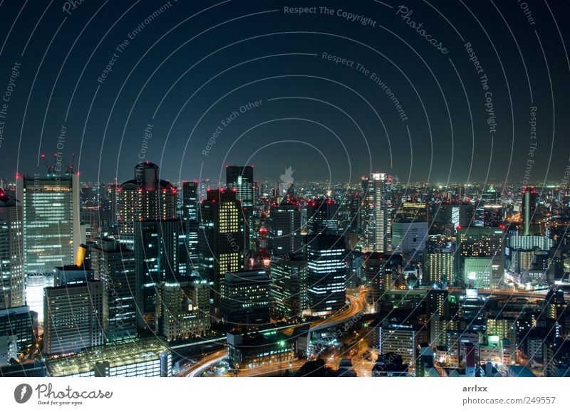 Skyline of Osaka City in Japan at night Lifestyle Vacation & Travel Tourism Sightseeing Living or residing Night life Workplace Economy Industry Business