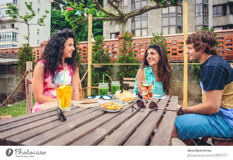 Group of people having fun in a summer day Woman Human being Vacation & Travel Man Summer Beautiful Green Joy Adults Lifestyle To talk Laughter Happy Garden