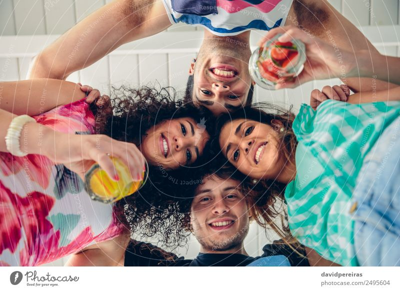 Young people with their heads together having fun Fruit Beverage Alcoholic drinks Lifestyle Joy Happy Beautiful Leisure and hobbies Summer Feasts & Celebrations